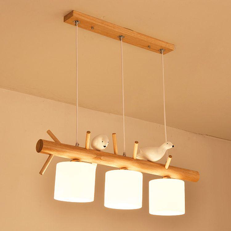 北欧三头餐厅吊灯创意小鸟木艺玻璃吊灯工业个性中式木艺家具吊灯