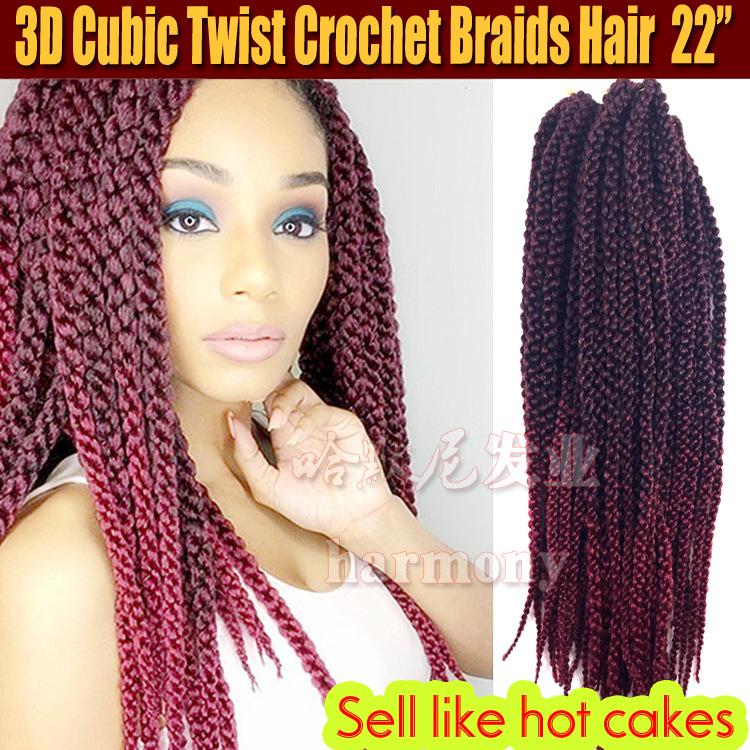 非洲黑人脏辫接发 四股辫假发3D Cubic Twist Crochet Braids