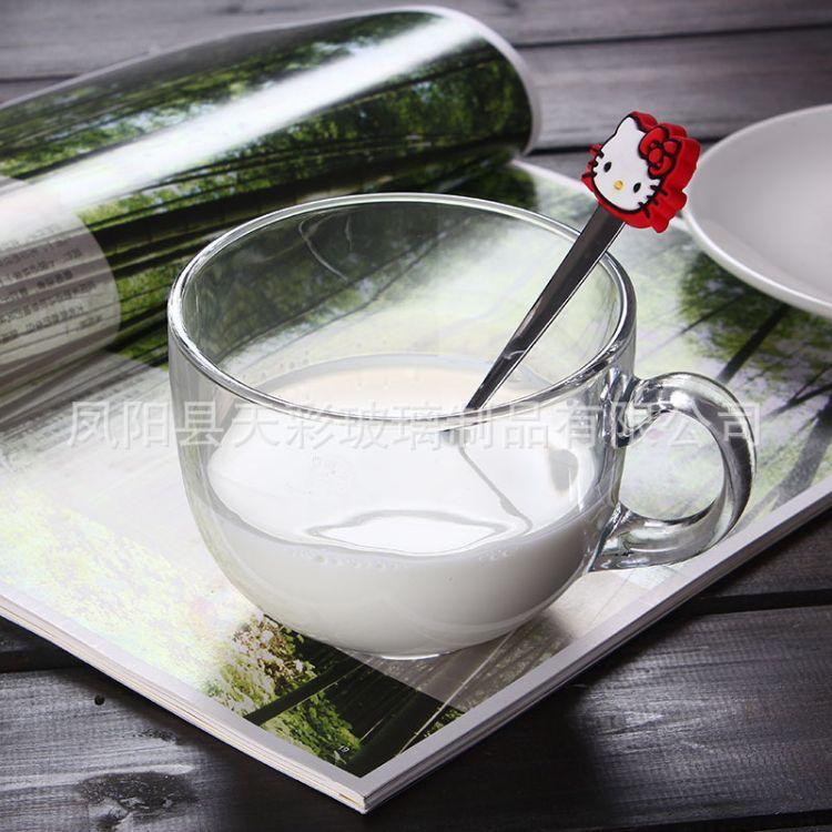 透明玻璃牛奶杯大容量玻璃杯礼品促销可订制玻璃杯带把广告杯订制