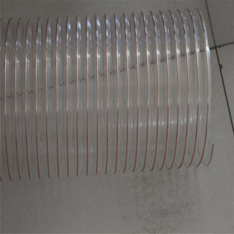 PU螺旋钢丝软管 tPU聚氨酯伸缩波纹管 进口透明pvc通风除尘塑料管