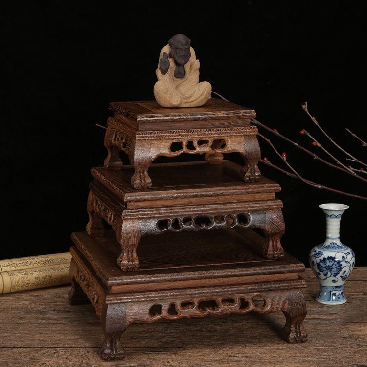 厂家直销红木工艺品鸡翅木正方坑台承接定制古玩石头盆景茶壶底座
