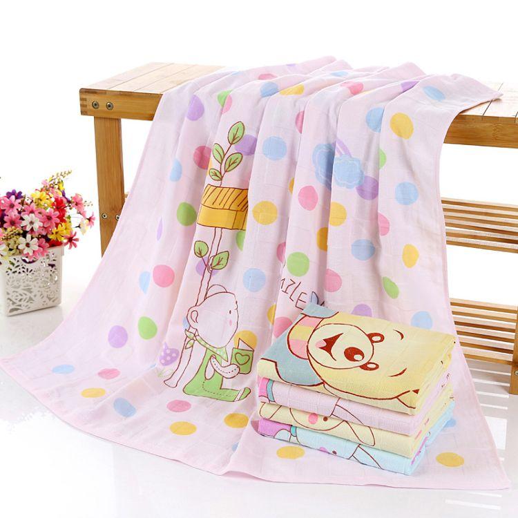纯棉纱布印花童被双层卡通盖毯婴幼儿毛巾被儿童抱被 厂家批发