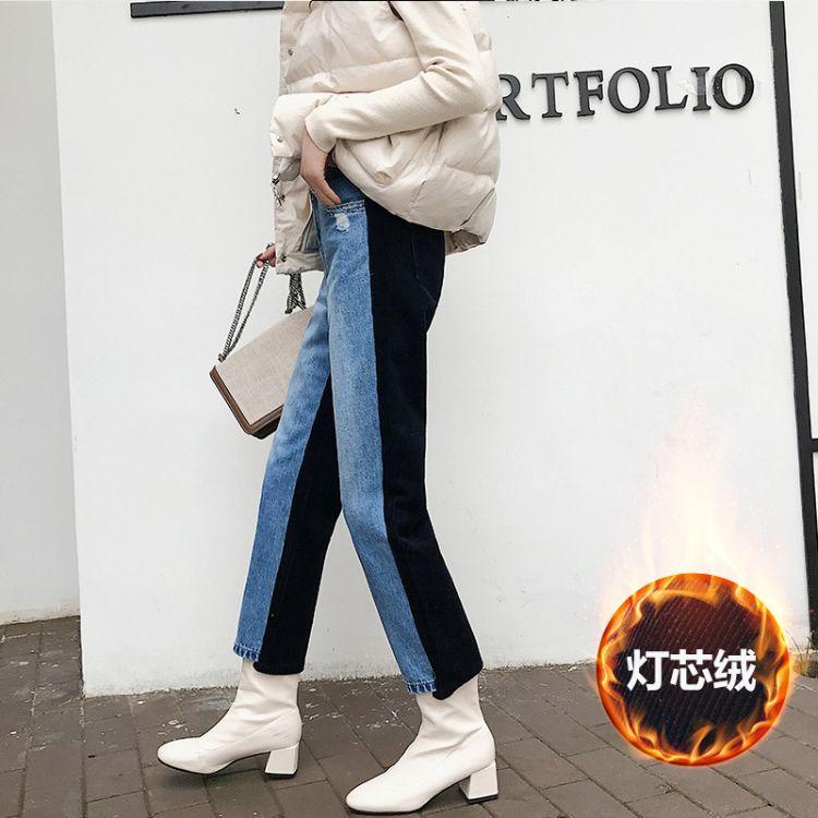 多色拼接牛仔裤中高端女装冬季网红chic韩版灯芯绒加绒直筒裤长裤