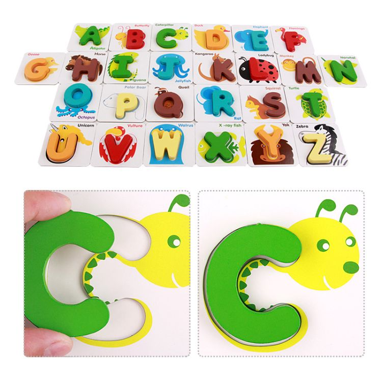 认图字母卡儿童学前辅助教具 木制玩具 早教玩具 英文益智早教