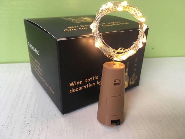 新款卡扣瓶塞灯无螺丝2米20灯铜线酒瓶灯圣诞节日创意装饰灯