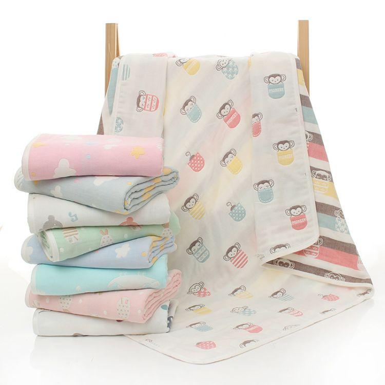 童被六层棉纱布宝宝盖毯 儿童抱被110*110婴幼儿毛巾被浴巾批发