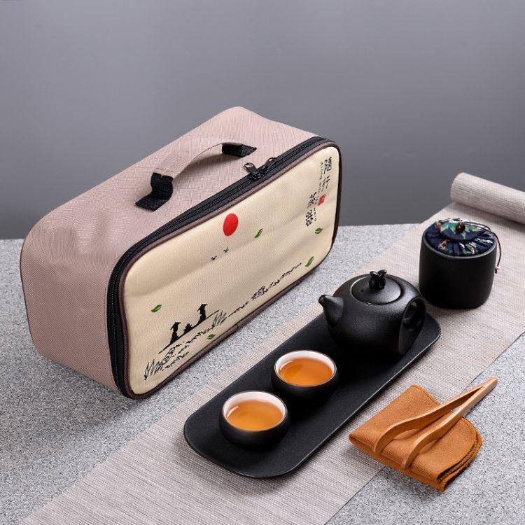 黑陶提梁壶旅行陶瓷功夫茶具套装便携式茶壶家用礼品粗陶带盘二杯