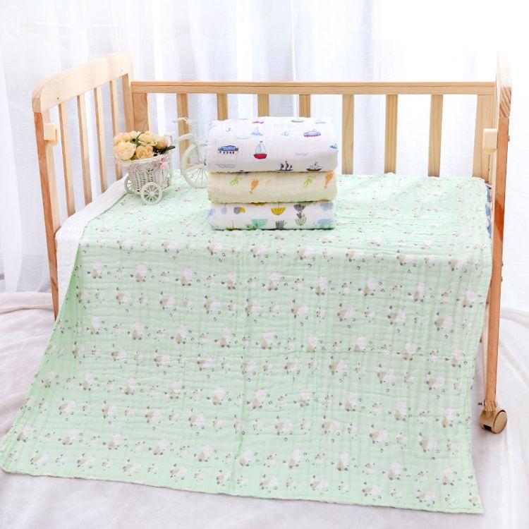 纯棉六层纱布高密度精褶皱 婴幼儿儿童浴巾童被毛巾被盖毯