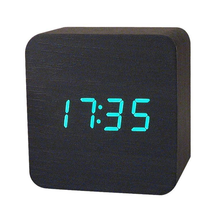 厂家新款电子闹钟可爱声控led木头钟创意钟表工艺礼品