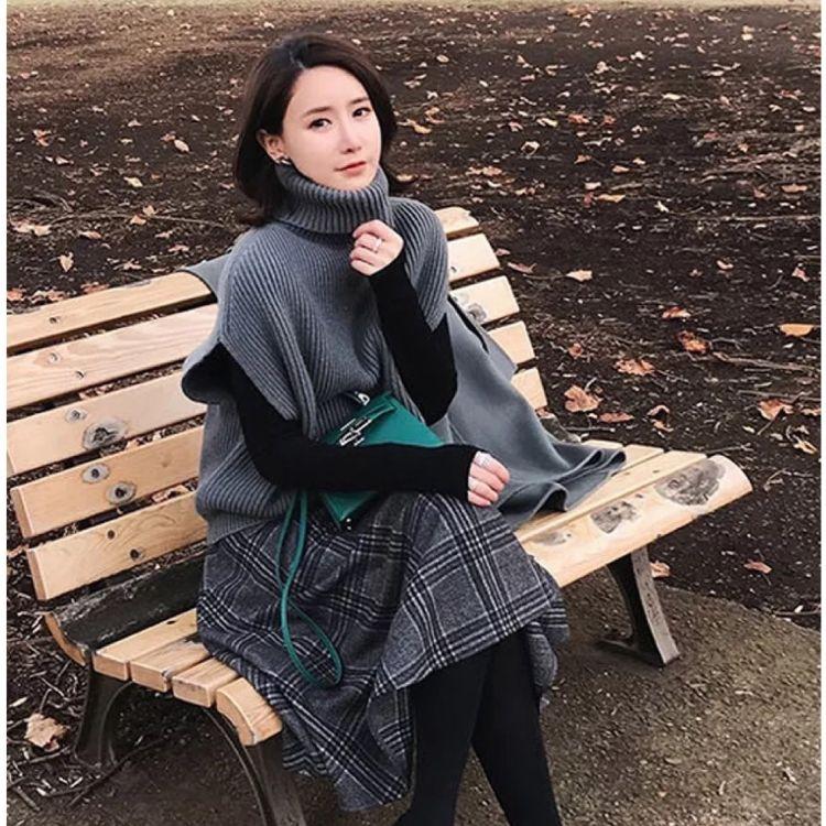 春秋季新款女装韩版冬裙子长袖灯芯绒毛衣三件套包芯纱大码裙套装