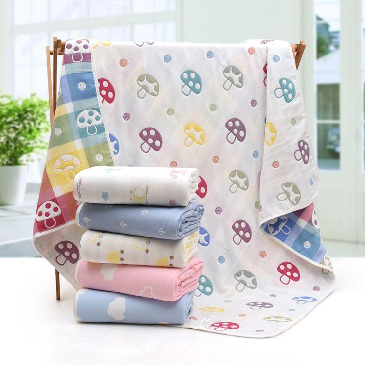 新款纯棉六层纱布儿童被抱被新生儿浴巾全棉婴幼儿夏季空调被盖毯