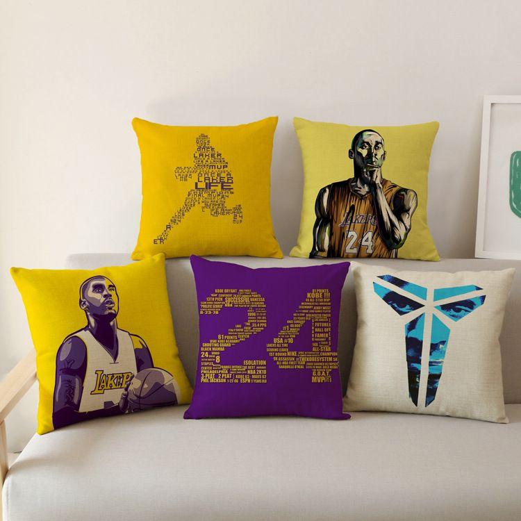 NBA湖人队徽科比KOBE经典图案棉麻抱枕套沙发靠垫可来图定制