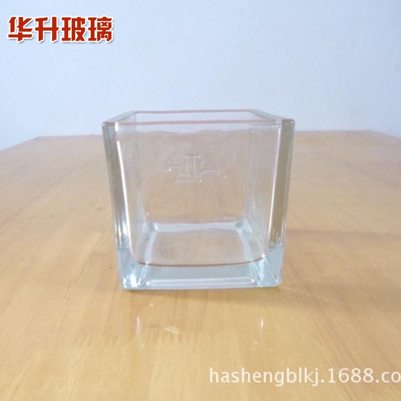 透明方形玻璃花瓶玻璃烛台水培花瓶方缸花瓶客厅咖啡厅装饰摆件