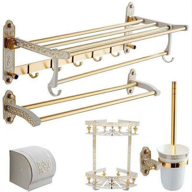 欧式挂毛巾架太空铝免打孔置物架烤白漆金色浴巾架浴室挂件