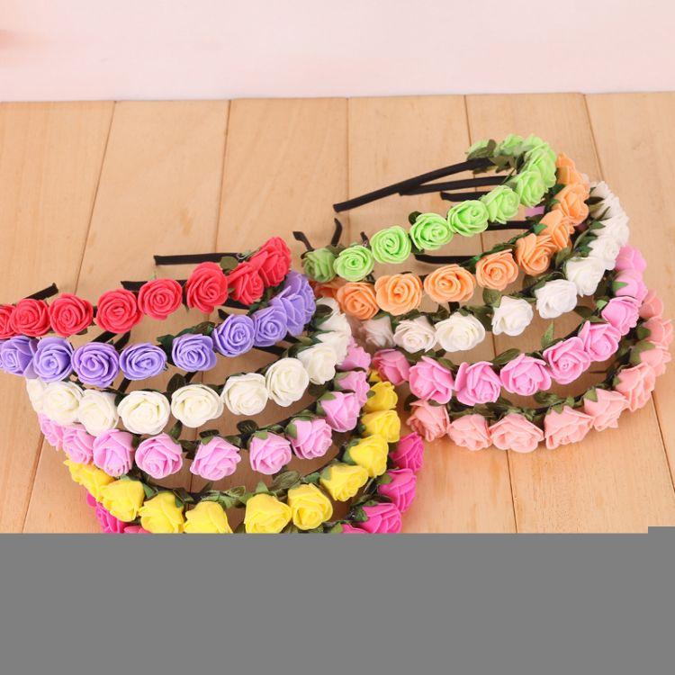 12朵仿真PE玫瑰花朵发箍花环 韩式头花发饰 海边度假沙滩配饰品