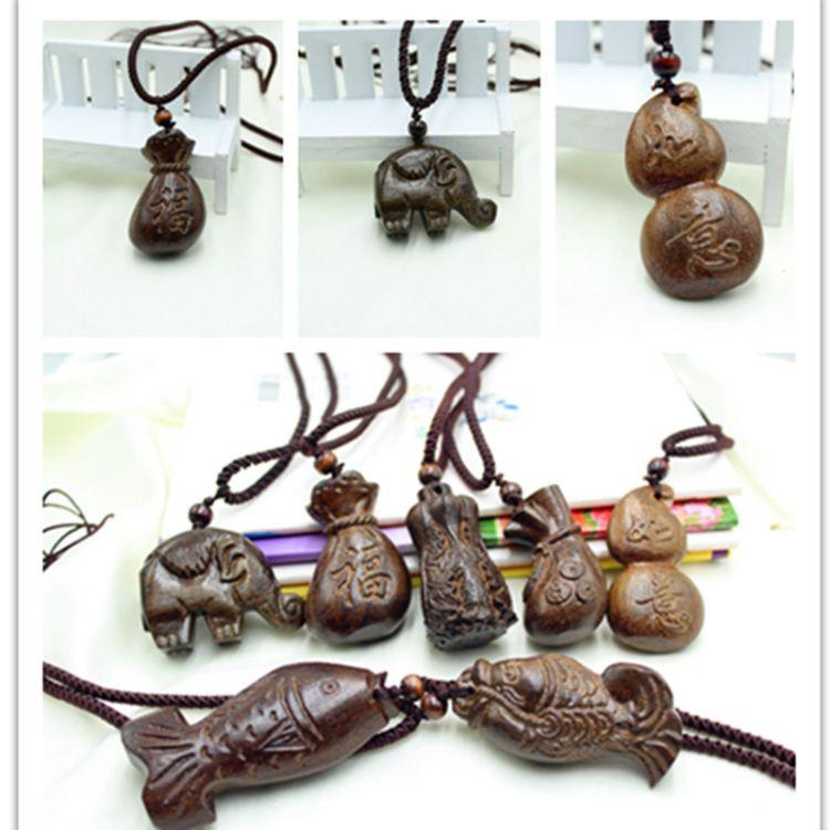 木鱼吊坠手工雕刻木头如意算盘项链 民族风文艺范复古毛衣链挂饰