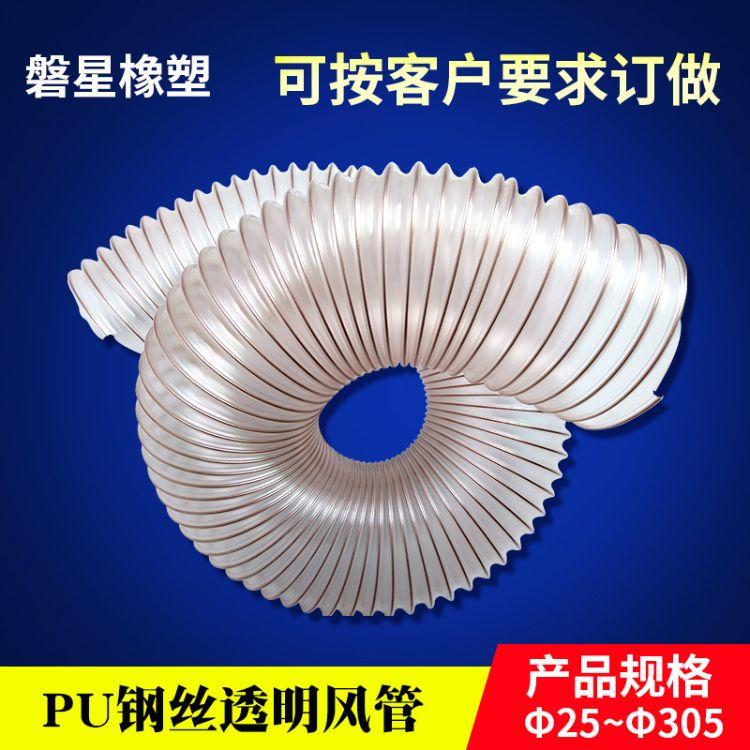 直销透明PU钢丝软管风管 镀铜钢丝增强管 钢丝螺旋管 吸尘排烟通