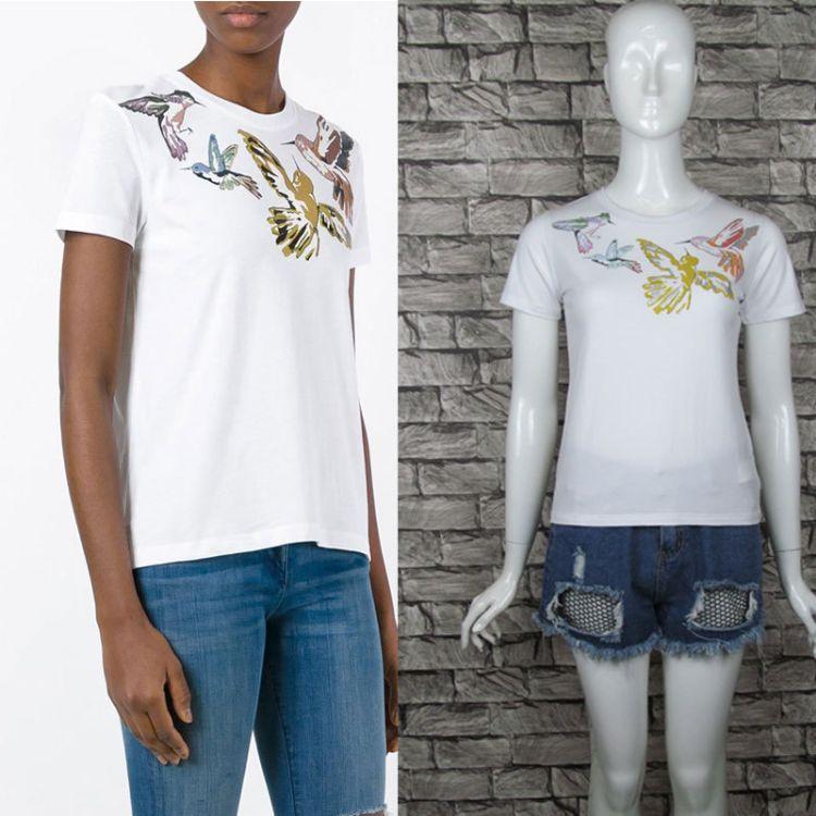 2017夏季女士圆领T恤欧美高端明星同款重工奢华蜂鸟印花短袖T恤女