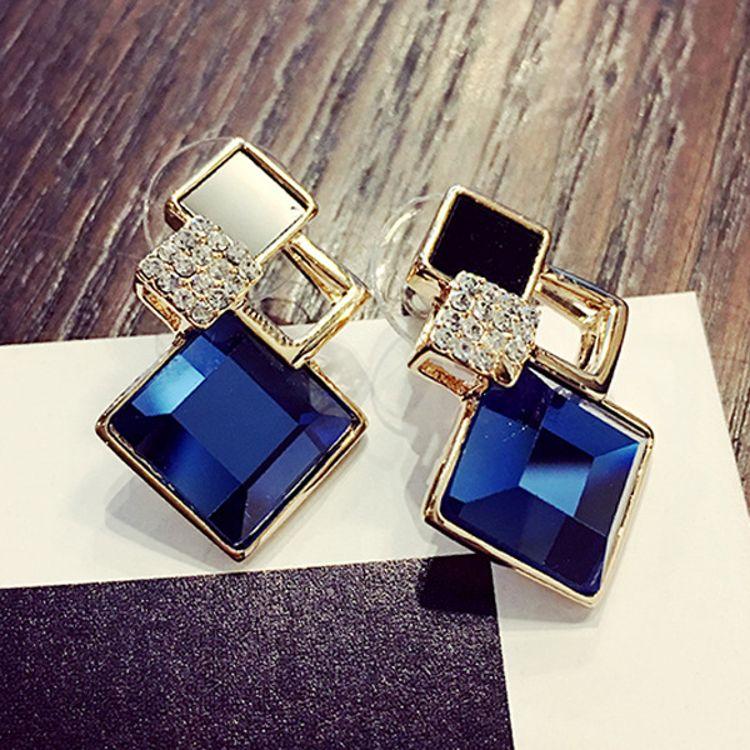 韩国耳钉女百搭几何方形水晶镶钻女名媛气质简约耳环饰品厂家批发