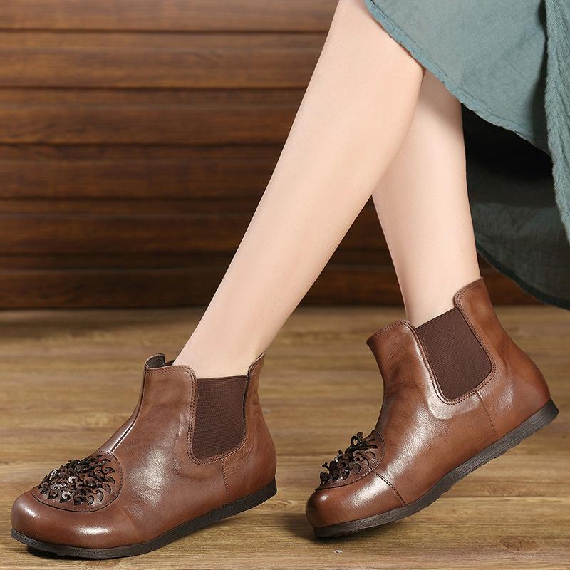 朵枝复古花朵手工短靴平底平跟民族风女靴2018秋冬新款真皮马丁靴