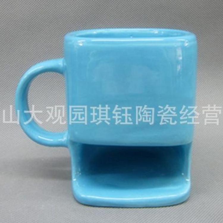饼干陶瓷杯 异形注浆陶瓷饼干杯 早餐饼干杯 礼品全色釉陶瓷杯
