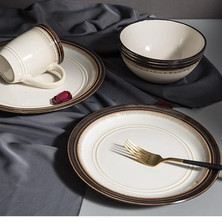 欧式浮雕陶瓷餐具创意牛排盘圆面汤碗陶瓷杯系列碗盘碟厂家直销