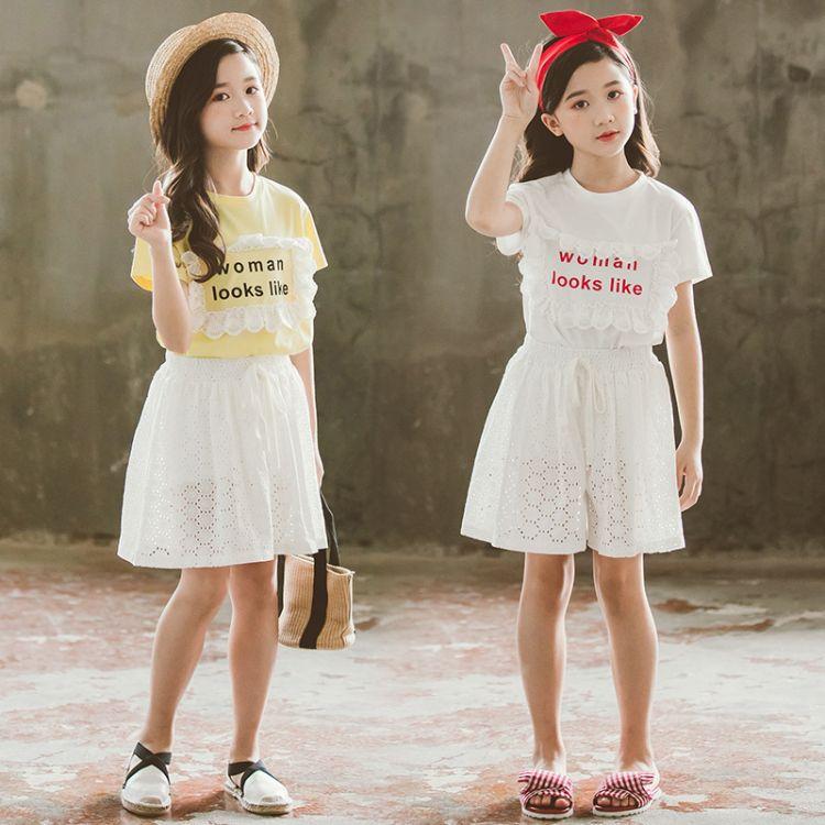 沃得乖乖厂家直销儿童短袖套装韩版女童套装 2019中大童纯色裙裤两件套装