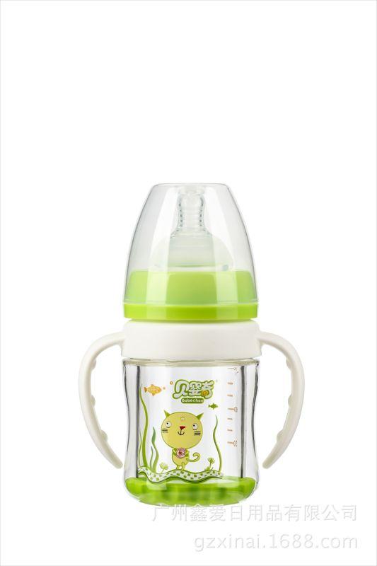 双层晶钻玻璃奶瓶OEM加工贴牌 防爆防摔耐高温晶钻玻璃奶瓶