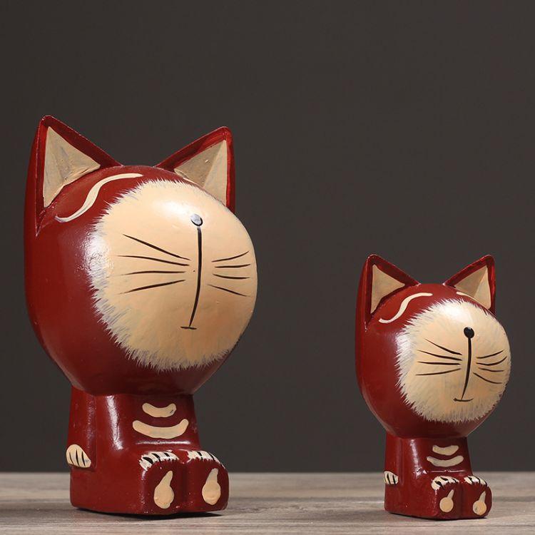 北欧原木巴厘岛手工雕刻木猫家居工艺品生日礼品摆设 母子猫12022
