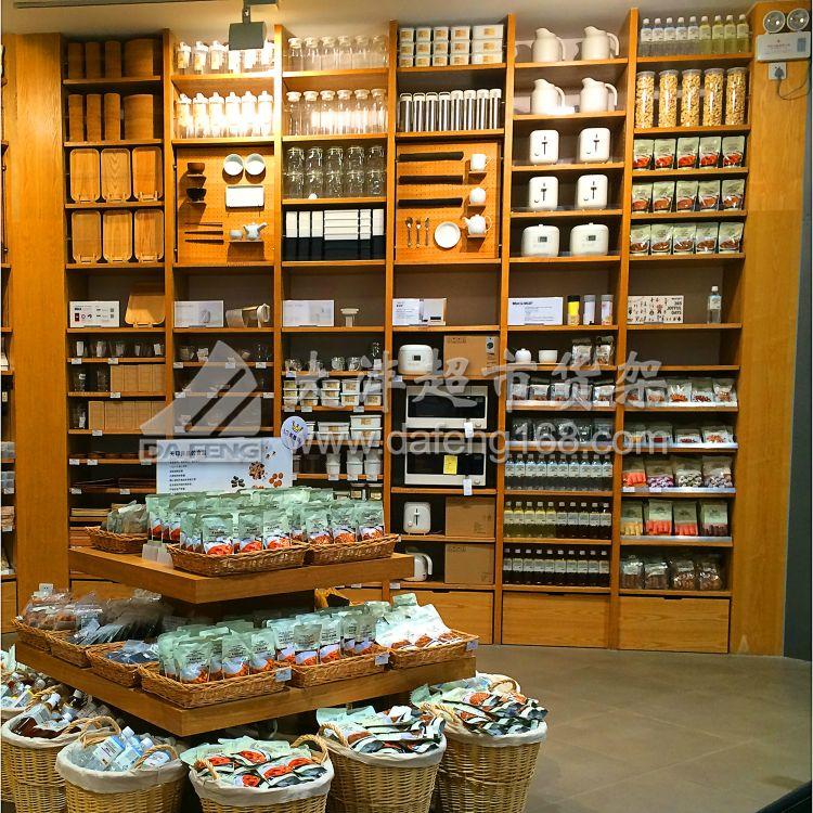 超市厨具专柜生活用品木质展柜精品货架直销 家居馆靠墙木制货架