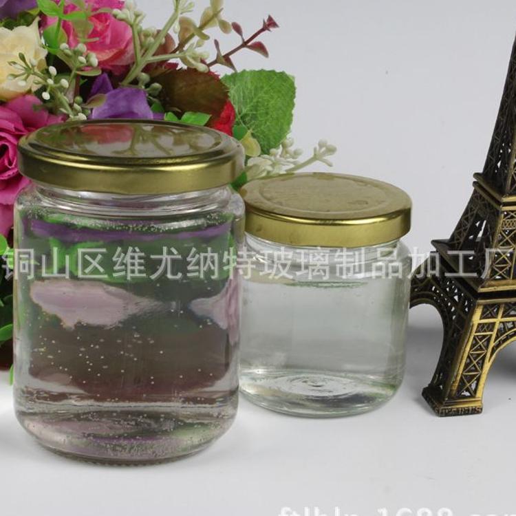 圆形玻璃罐  玻璃蜂蜜罐 圆形蜂蜜瓶 酱菜瓶 圆形 玻璃储藏罐