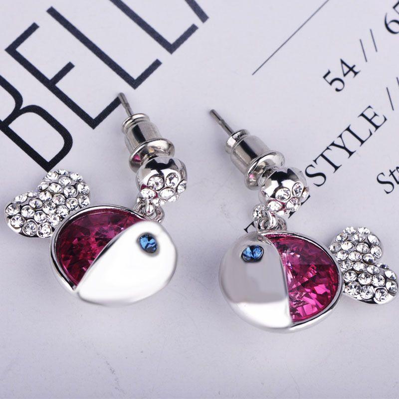 時尚韓版925銀耳釘鑲鉆可愛小魚耳飾 施華洛耳環配飾簡約飾品批發