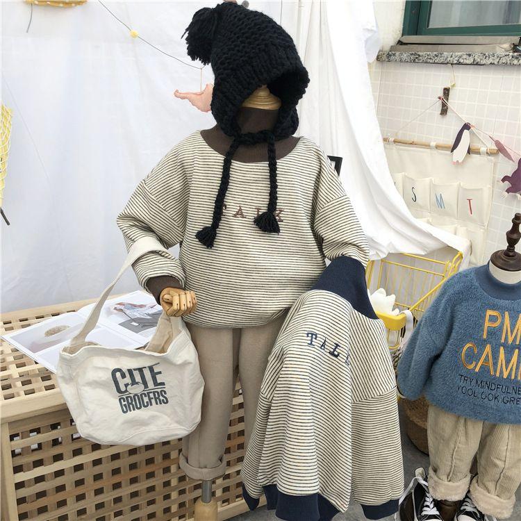 韩国男女童冬季加绒加厚条纹字母高领卫衣