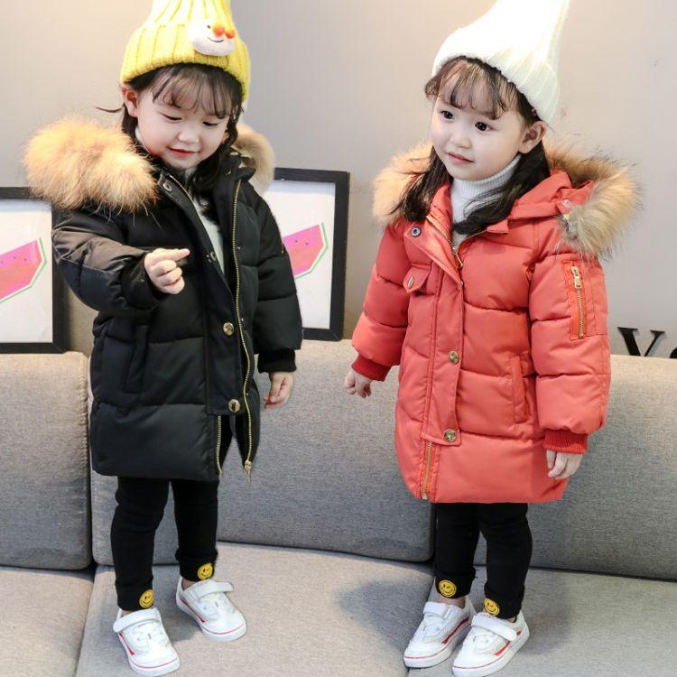 女童冬装毛领棉衣2018新款中长款棉袄中小童韩版棉服连帽外套潮