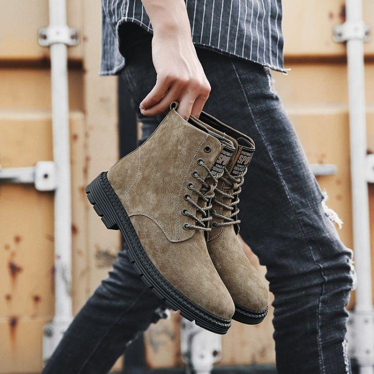 秋季男士高帮鞋中帮沙漠短靴子真皮潮流工装军靴百搭英伦马丁靴男