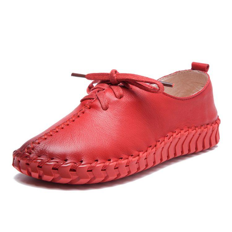 春秋新款手工缝制真皮女单鞋孕妇鞋软垫平底鞋女手工鞋工厂批发价