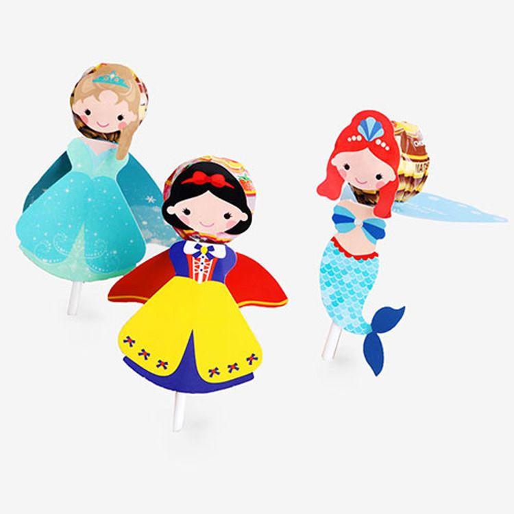 韓式公主棒棒糖果裝飾插卡片現貨兒童女孩小禮物裝飾8大張/48枚