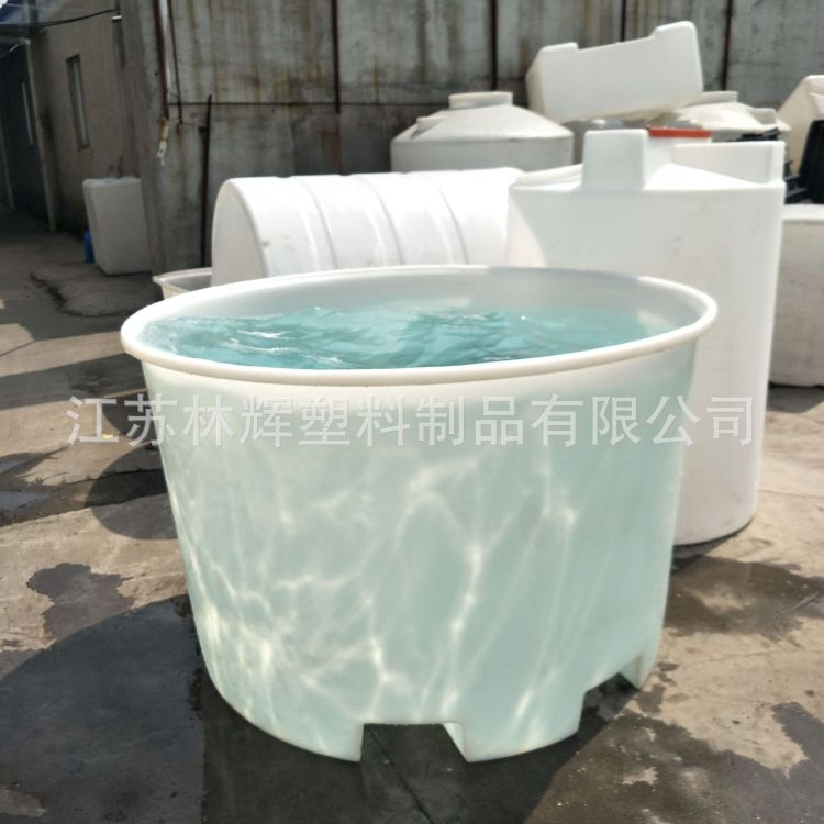 林辉1.5吨叉车桶 纺织印染周转塑料圆桶 配套带盖子 榨菜腌制运输桶现货供应