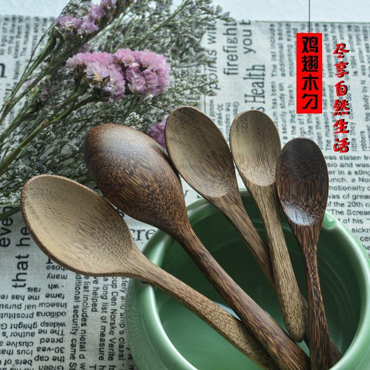 小木勺 批发日式木勺蜂蜜勺木质无漆长柄小竹勺刻字定制logo