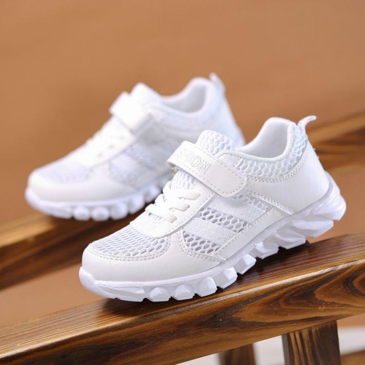 白色童鞋男童2019年开学季新款大码段 儿童运动小白鞋学生鞋批发