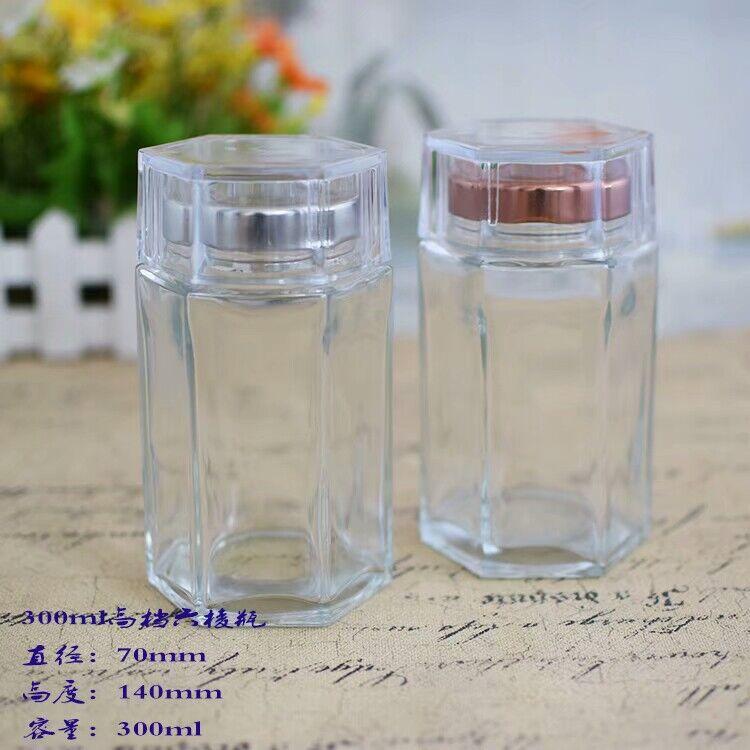 批发高档300ml六棱玻璃瓶 蜂蜜 燕窝 喜蜜玻璃瓶 新品即食燕窝瓶
