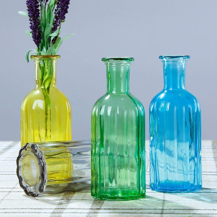 新款简约玻璃花瓶水培玻璃瓶办公室装饰插小口玻璃瓶欧式摆件花瓶