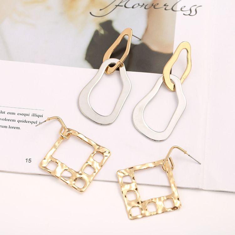 歐美個性幾何長款耳環 簡約時尚方形鏤空雙圈耳飾耳環女淘寶熱賣