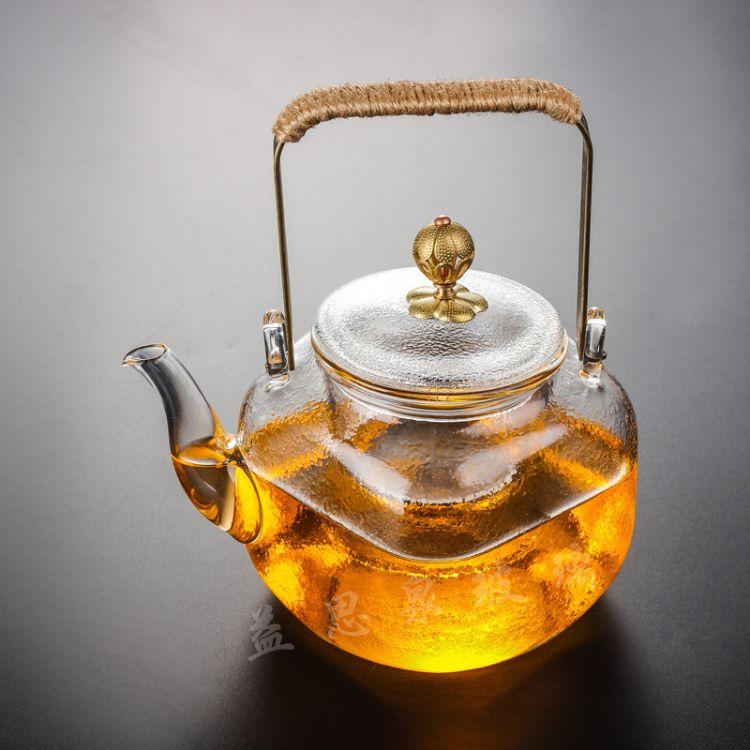 玻璃花茶壶 煮茶壶玻璃壶四方细纹壶玻璃煮茶壶提梁壶茶壶直销
