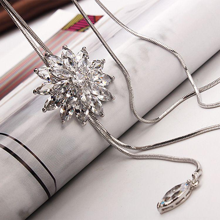 长款项链女水晶花流苏吊坠挂件韩国时尚气质简约百搭毛衣链装饰品
