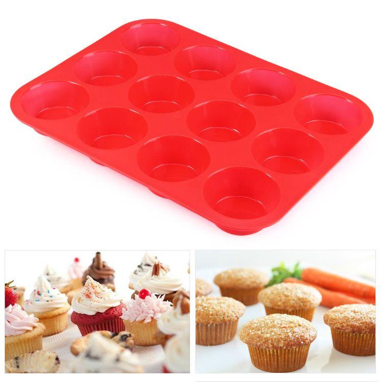 硅胶12连马芬杯蛋糕模 圆形蛋挞果冻模 DIY烘焙工具