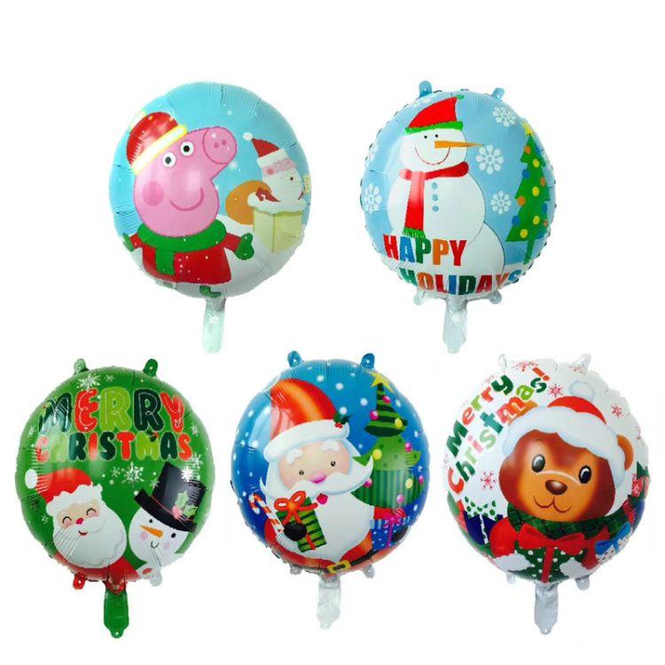 18寸圆形圣诞铝膜气球节日派对铝箔气球派对装饰气球