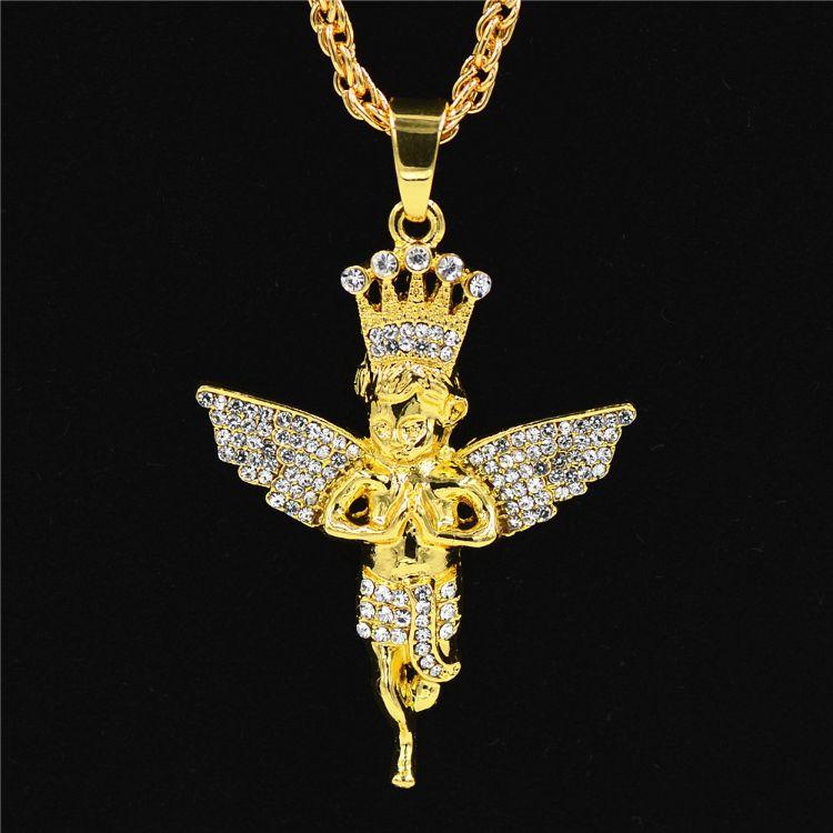 跨境电商爆款 带钻皇冠天使吊坠 嘻哈项链 hip hop项链 保色电镀
