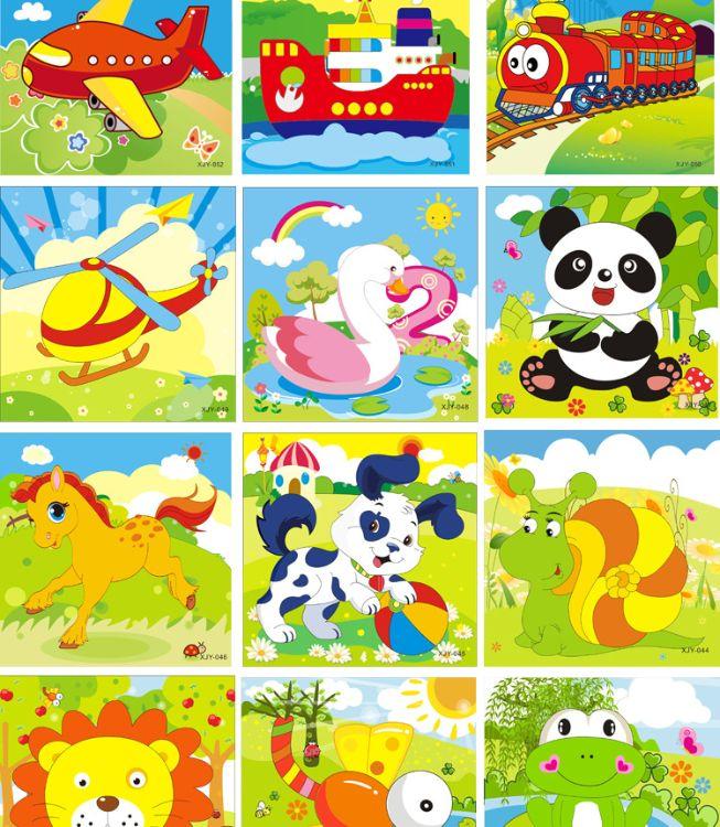 产地货源 16片拼图卡通动物交通工具幼儿园木质制拼版儿童小拼图