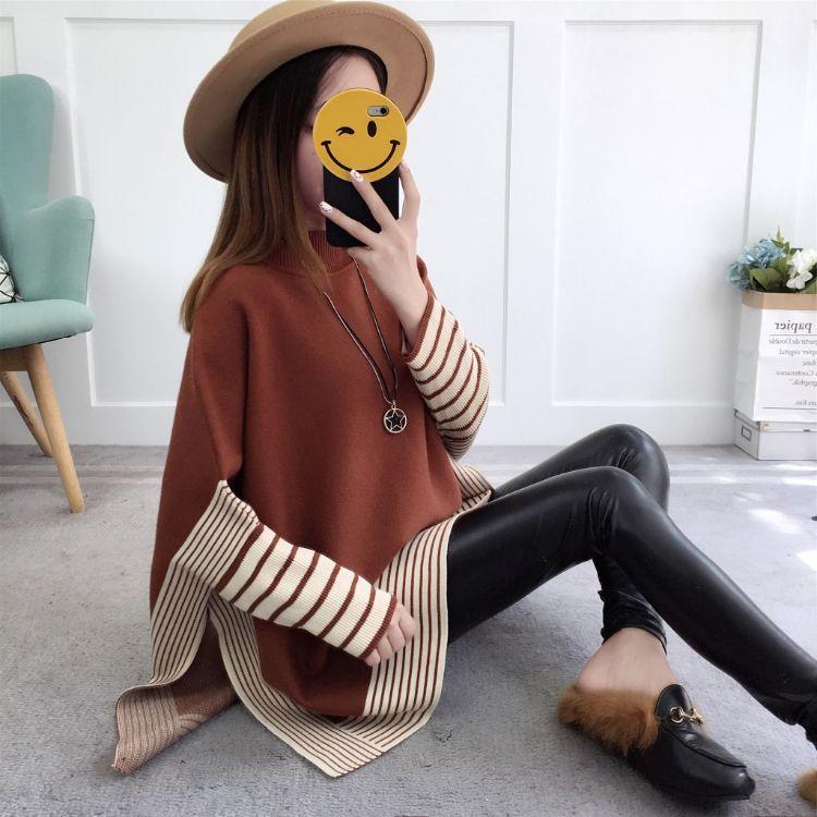 韩国官网秋冬新款高领女式针织衫韩版宽松大码蝙蝠袖毛衣女装外套